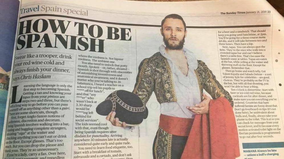 Foto: El artículo publicado por 'The Times', How to be Spanish. (@PilarPinedoMur)