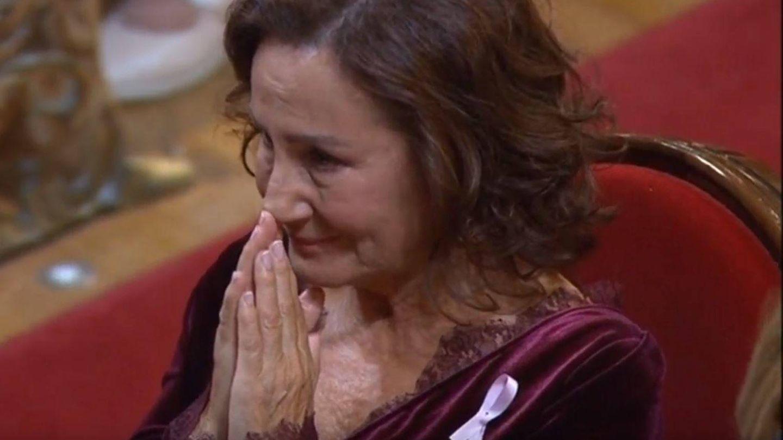 Paloma Rocasolano, emocionada escuchando a la princesa Leonor en 2019. (TVE)
