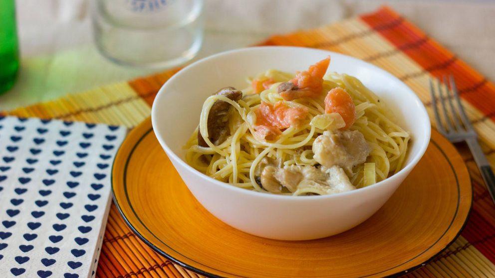 Espaguetis con setas y salmón: fácil, rico y barato
