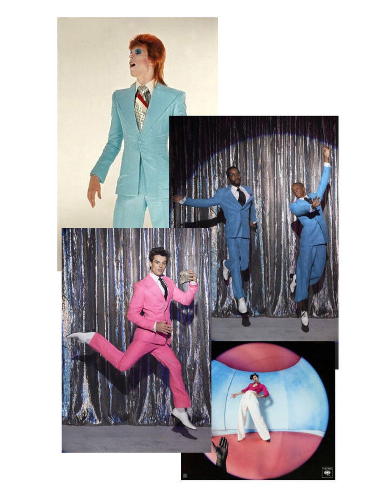 Diseños de la firma Wolk Morais / David Bowie, portada del disco 'Fine Line' de Harry Styles. (Montaje)
