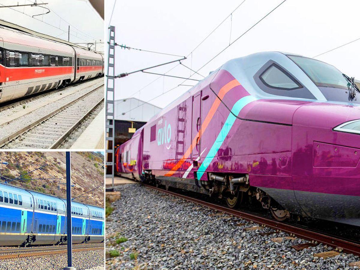 Foto: Arriba a la izquierda, el Frecciarossa 1000: la joya italiana; abajoa a la izquierda, el Euroduplex: el 'mastodonte' galo, y a la derecha el Talgo s112: el primer 'low cost'