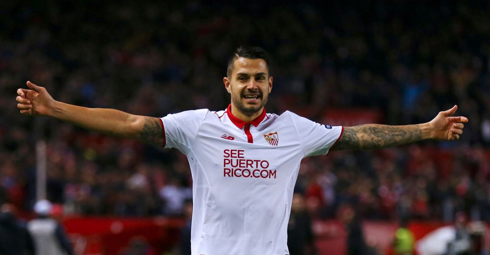 Foto: Vitolo celebra un gol marcado con el Sevilla. (Reuters)
