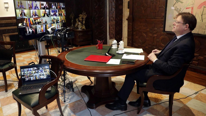 Ximo Puig, en la última videoconferencia de presidentes. (GVA)