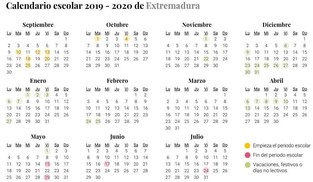 Foto: Calendario escolar 2019-2020 de Extremadura (El Confidencial)