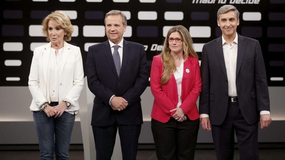 Foto: Los cuatro candidatos a la Alcaldía de Madrid de los partidos con representación en el Ayuntamiento, Esperanza Aguirre (PP), Antonio Miguel Carmona (PSOE), Raquel López (IU) y David Ortega (UPyD). (EFE)