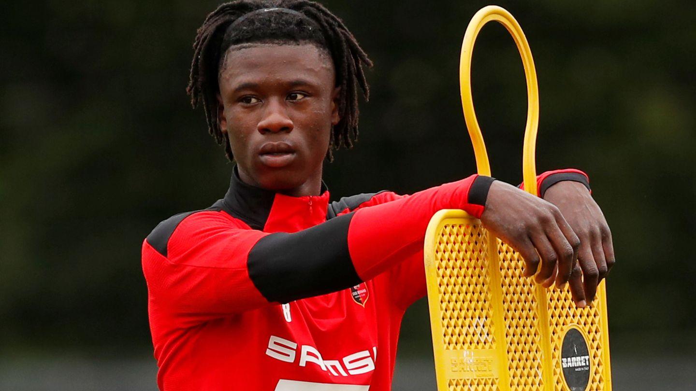 Eduardo Camavinga, en un entrenamiento con el Rennes. (EFE)