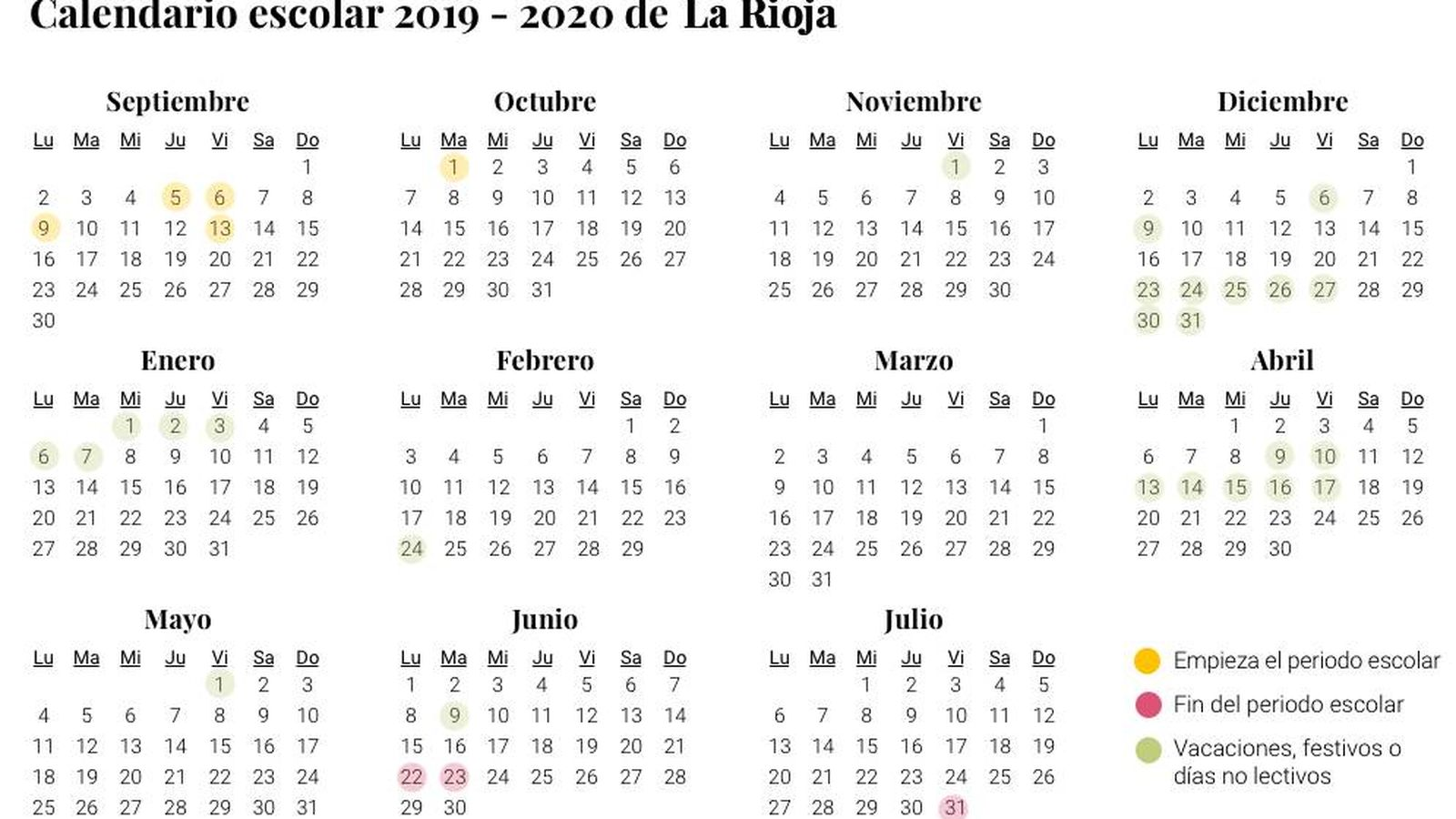 Calendario 2020 Con Festivos Andalucia.Calendario Escolar 2019 2020 En La Rioja Vacaciones