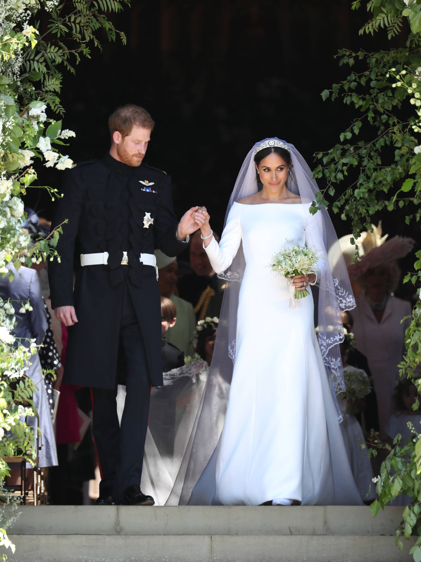 Meghan Markle y el príncipe Harry el día de su boda. (Getty)