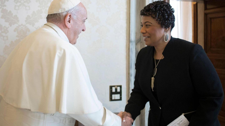 Bernice King, recibida por el papa Francisco en 2018. (EFE)