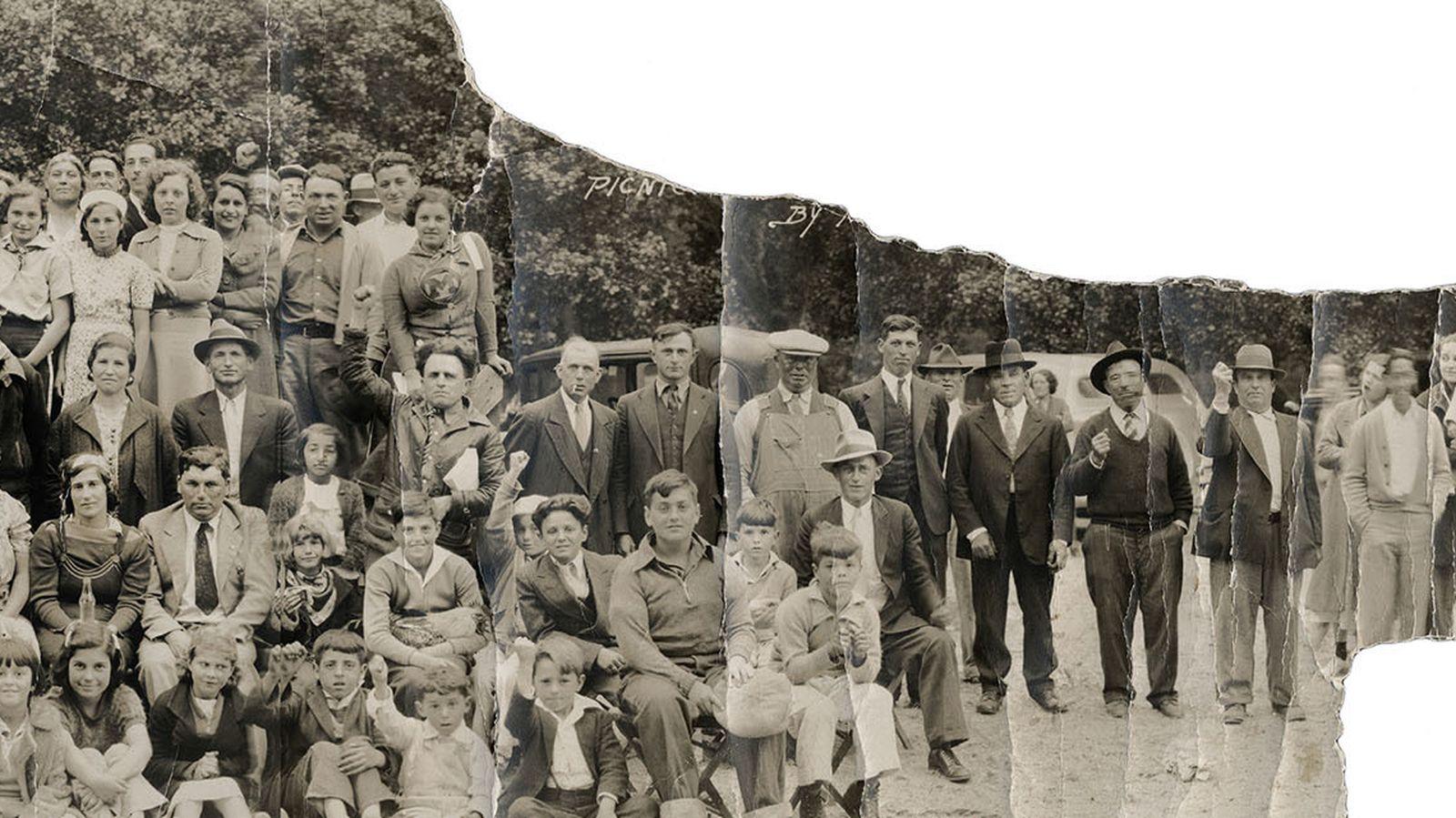 Foto: Gira campestre de mayo de 1937 para beneficio de las viudas y huérfanos de la guerra civil española.