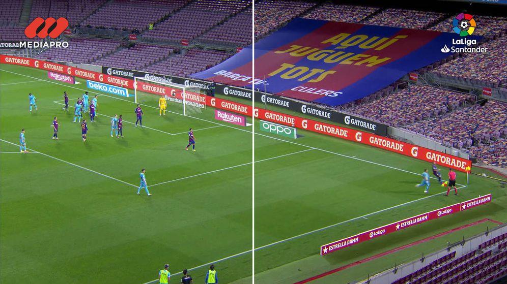 Foto: Comparación entre la señal real y la virtual en un partido en el Camp Nou.