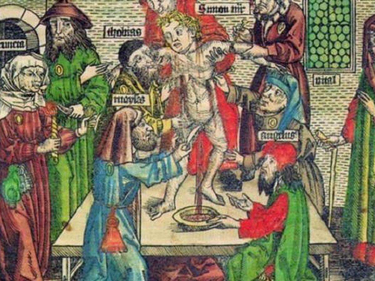 Foto: Ilustración de asesinato ritual de Simón de Trento (1475), según las Crónicas de Núremberg de Hartmann Schedel (Alemania, 1493).