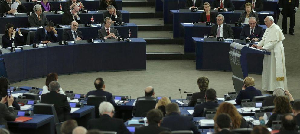 Foto: El Papa Francisco durante su intevención en el Parlamento Europeo hoy (Reuters)