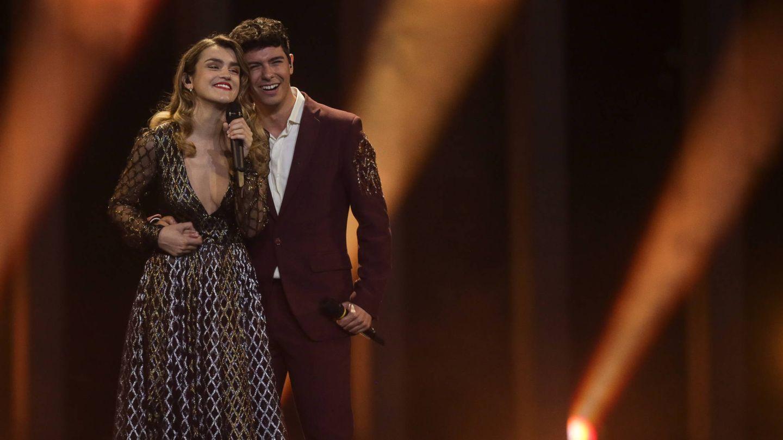 Amaia y Alfred durante su actuación en la gran final de Eurovisión 2018. (Gtres)