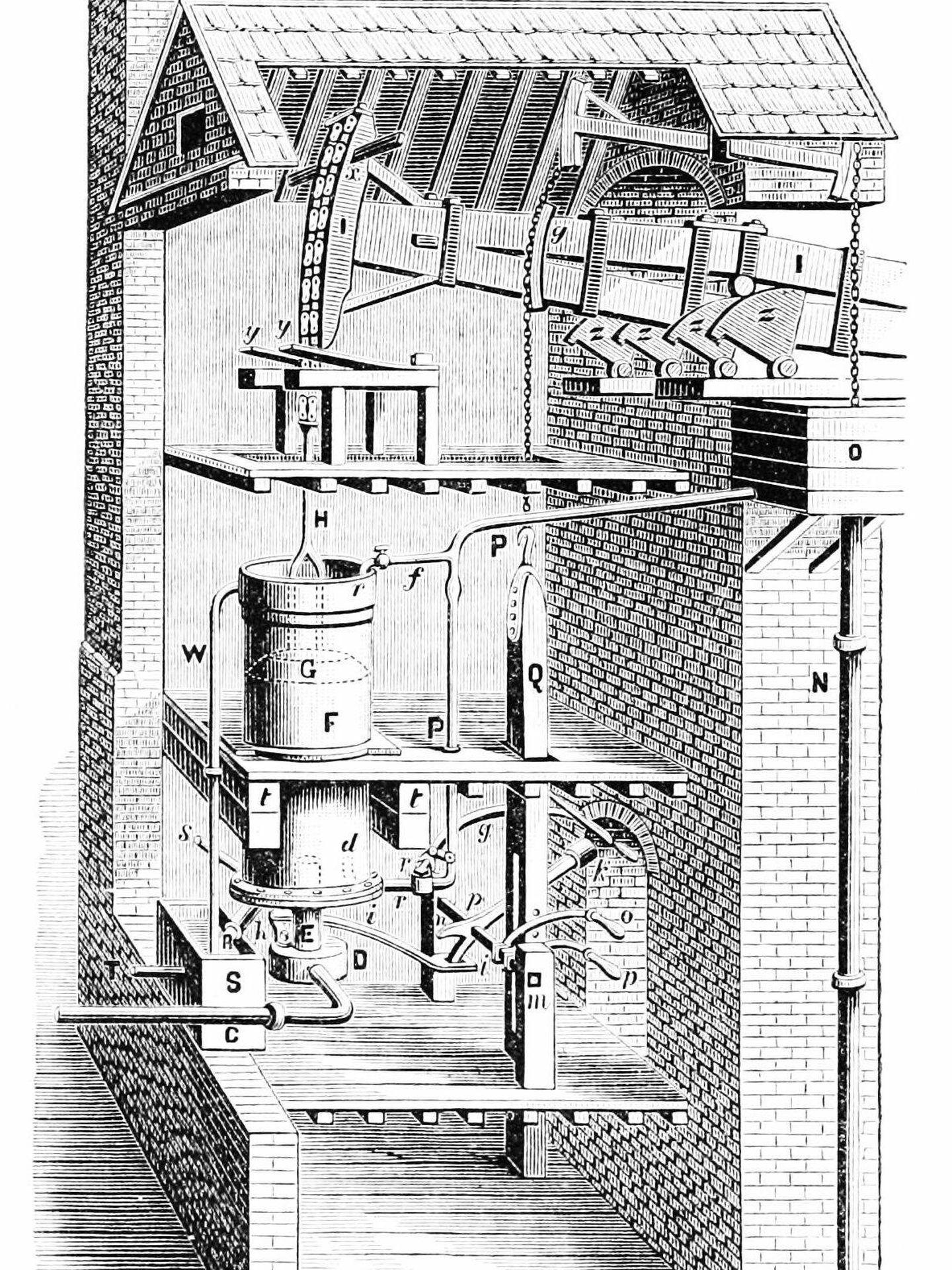 Dibujo a lápiz de la máquina a vapor de Newcomen mejorada por Smeaton.