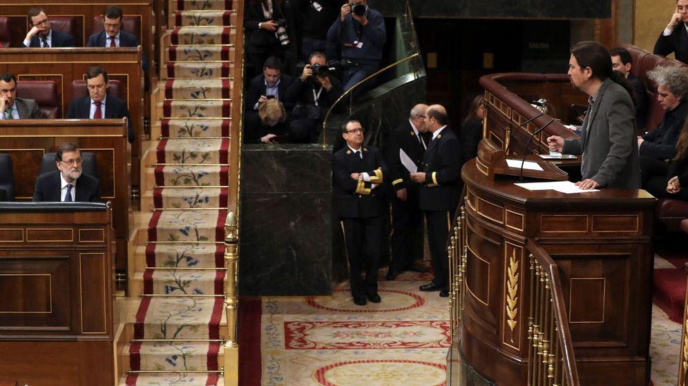 Foto: El Secretario general de Podemos Pablo Iglesias, durante su intervención en el pleno del Congreso. (EFE)