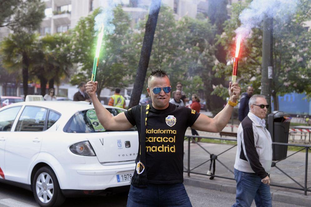 Foto: La Federación Profesional del Taxi y Elite Taxi Madrid han convocado hoy una manifestación. (EFE)