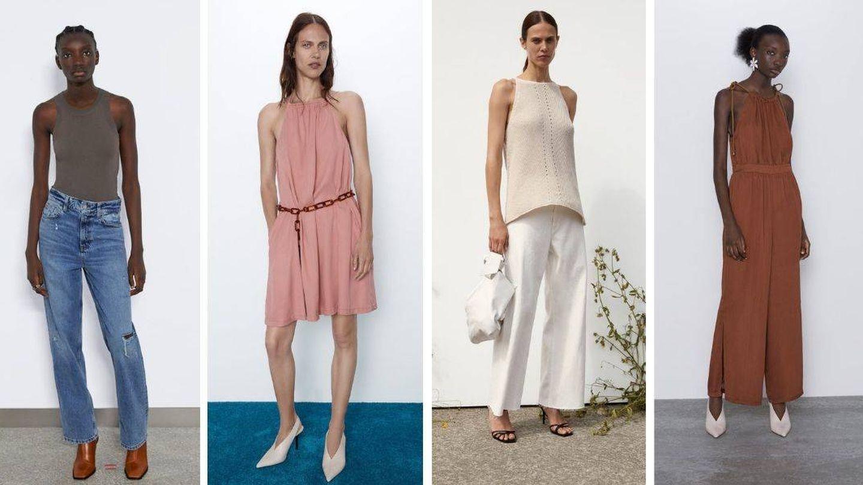 Propuestas de escote 'halter' de Zara. (Cortesía)