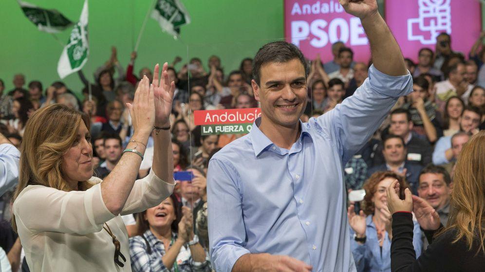 Foto: La presidenta de la Junta de Andalucía, Susana Díaz, y  el secretario general del PSOE, Pedro Sánchez. (Efe)
