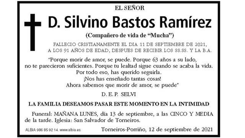 La esquela de Silvino Bastos, en el Faro de Vigo