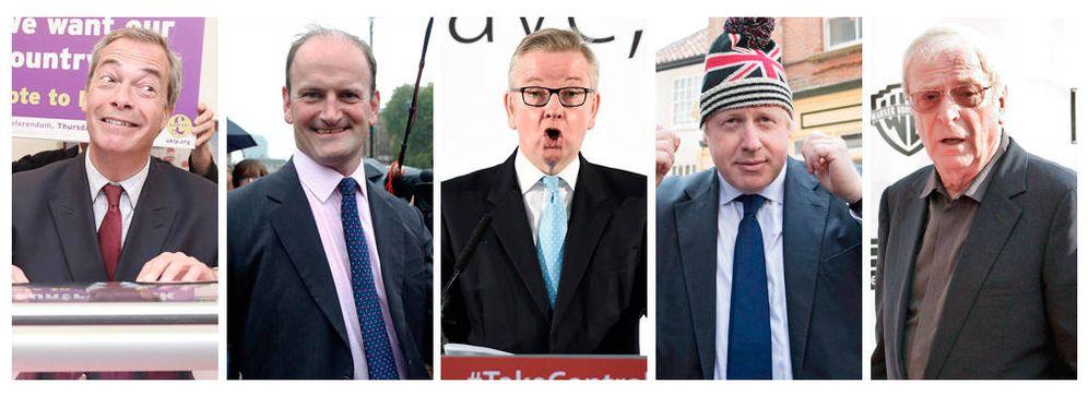 Foto: Nigel Farage, Douglas Carswell, Michael Gove, Boris Johnson y Michael Caine.