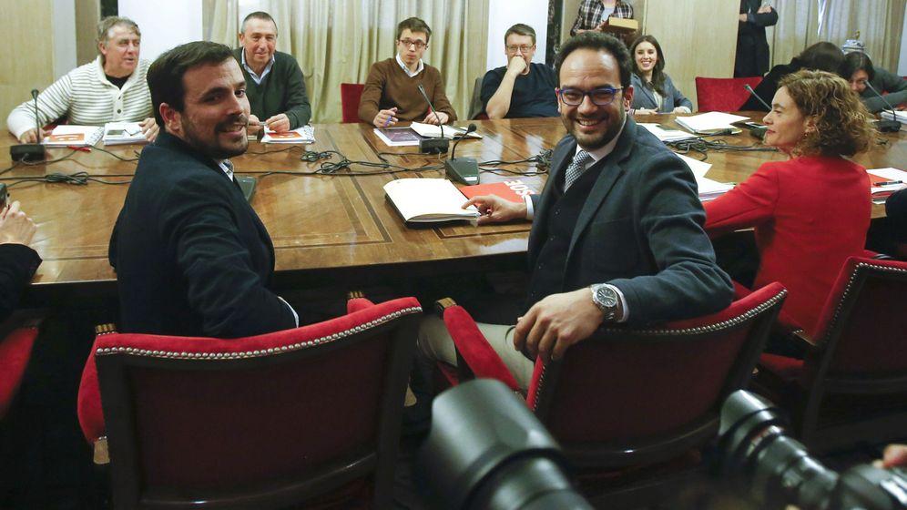 Foto: Primera reunión a cuatro en el Congreso, el pasado 22 de febrero. (EFE)