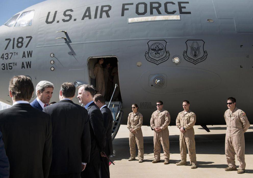 Foto: El secretario de Estado de EEUU, John Kerry, a su llegada al Aeropuerto Internacional de Erbil, capital del Kurdistán iraquí (Reuters).