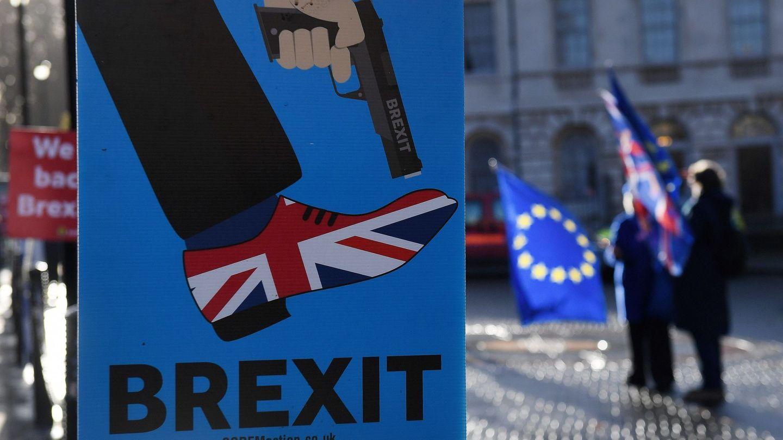 Manifestantes a favor de la Unión Europea defienden la campaña 'People's Vote', que solicita una votación pública sobre el acuerdo final. (EFE)
