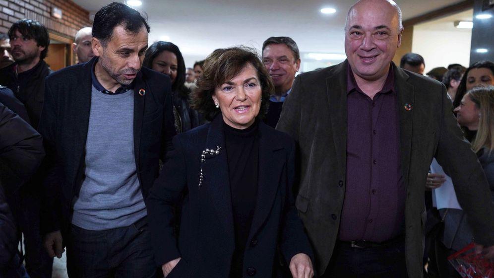 Foto:  La vicepresidenta del Gobierno en funciones, Carmen Calvo (C), a su llegada al Comité Provincial del PSOE-A en Córdoba. (EFE)