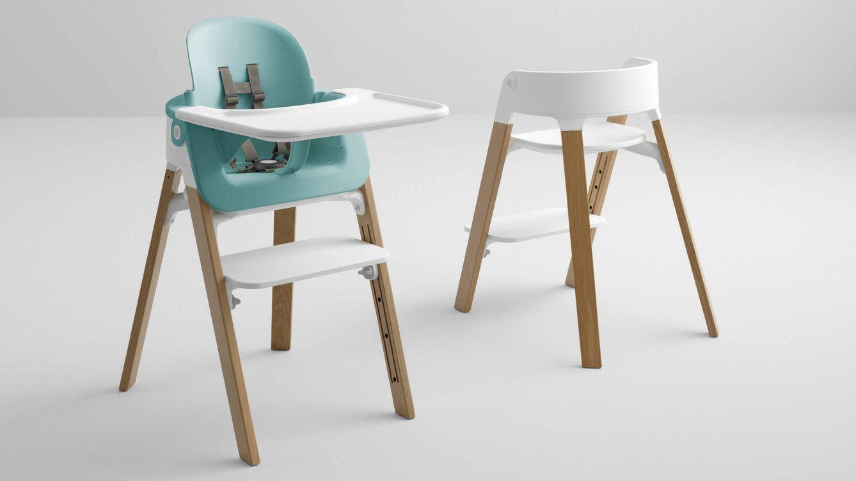 Foto: El asiento 'Baby Set' en color azul agua aplicado a la silla 'Stokke Steps'