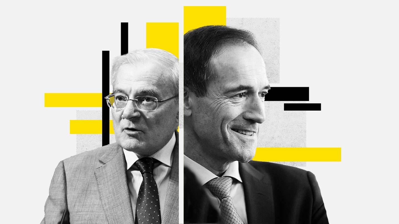 Manuel Azuaga (i), presidente de Unicaja, y Manuel Menéndez, CEO de Liberbank. (EC)