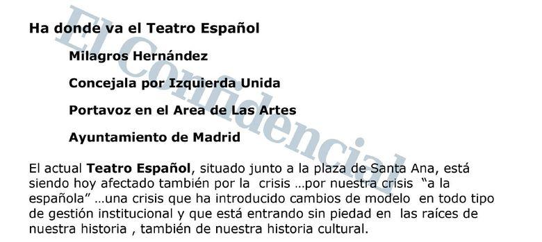 """Foto: La misiva de la responsable de Cultura de IU en Madrid: """"Ha donde va el Teatro..."""
