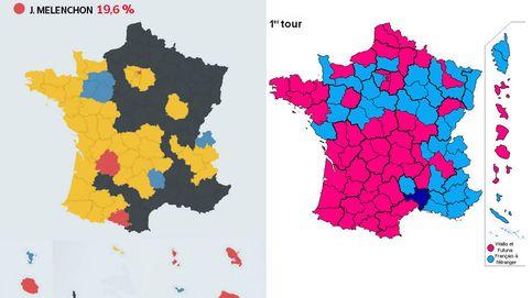 El mapa de resultados de las elecciones francesas de 2017, muy diferente a 2012
