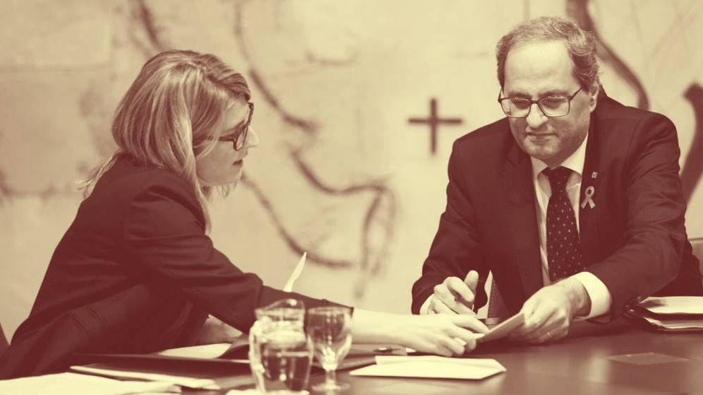 Foto: El presidente de la Generalitat, Quim Torra, y su vicepresidenta, Elsa Artadi, durante una reunión semanal del Gobierno catalán. (EFE)