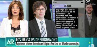 Post de Ana Rosa se defiende de Puigdemont: