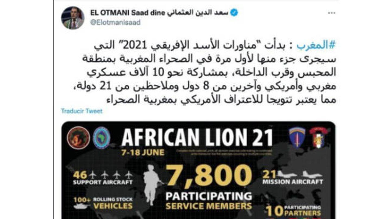 Tuit del jefe del Gobierno de Maruecos, Saadeddine el Othmani, celebrando que las maniobras African Lion 2021 se desarrollen en parte en el Sáhara Occidental.
