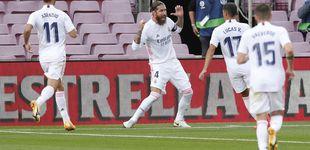 Post de Sergio Ramos rompe de penalti (con VAR) el Clásico para el Real Madrid (1-3)