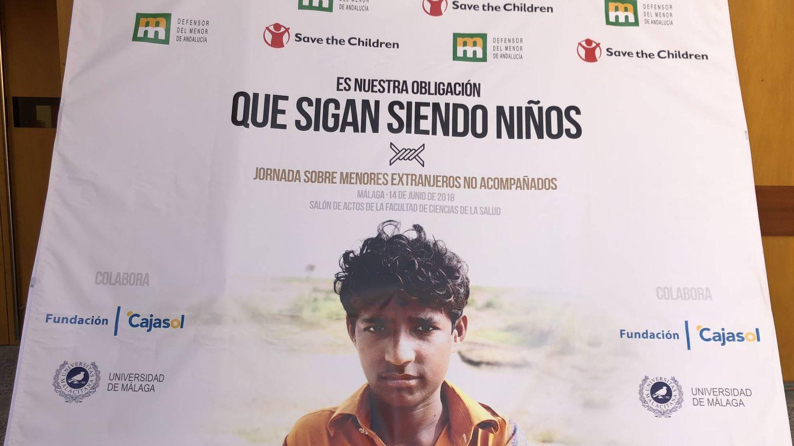 Foto: Cartel de las jornadas sobre los niños Mena en Málaga.