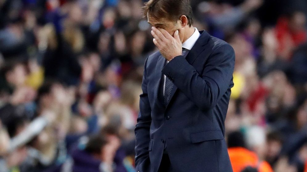 Foto: Lopetegui, en el Camp Nou, en su último partido como entrenador del Real Madrid. (EFE)