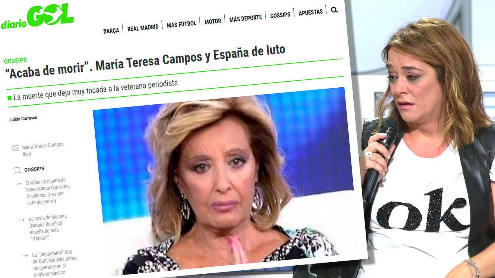 Foto: Moreno, junto al tremendo bulo que se comió ayer (Diario Gol/Telecinco)