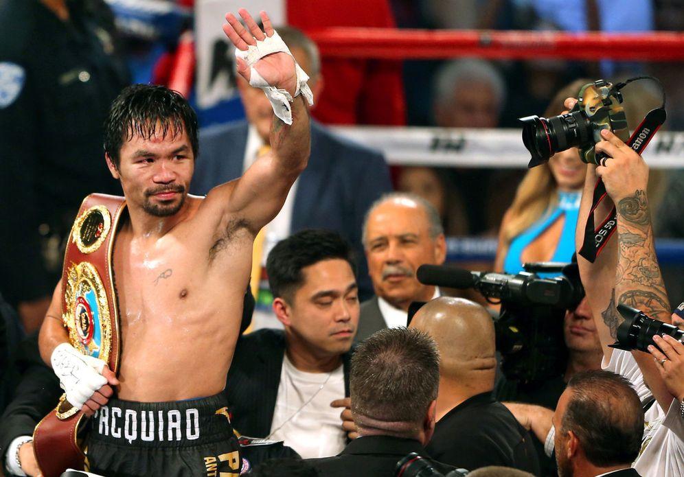 Foto: Pacquiao celebra su triunfo en Las Vegas. (REUTERS)