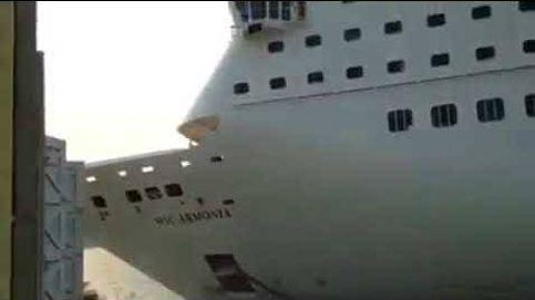 Un crucero gigante embiste un muelle en el Caribe