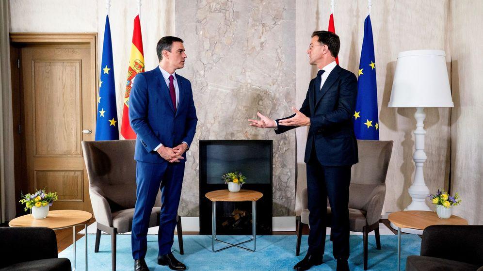 Foto: El primer ministro holandés, Mark Rutte (d), recibe este lunes en La Haya al presidente español, Pedro Sánchez. (EFE)