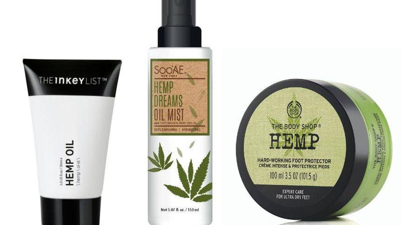 Hemp de The Inkey List, Hemp Dreams Oil Mist de Sooae y Protector de pies de The Body Shop. (Cortesía)
