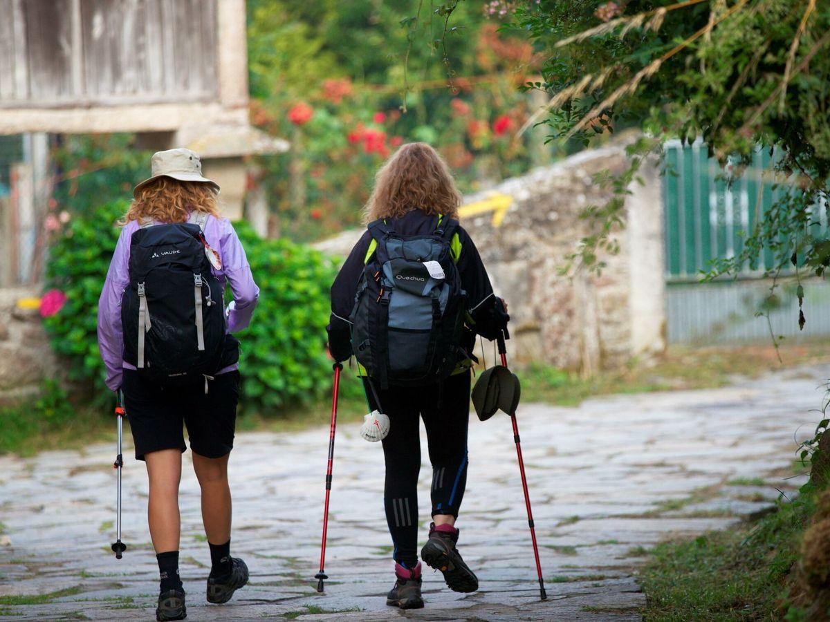 Foto: Varios peregrinos a su paso por la localidad gallega de Palas de Rei durante su peregrinaición por el Camino de Santiago. (EFE)