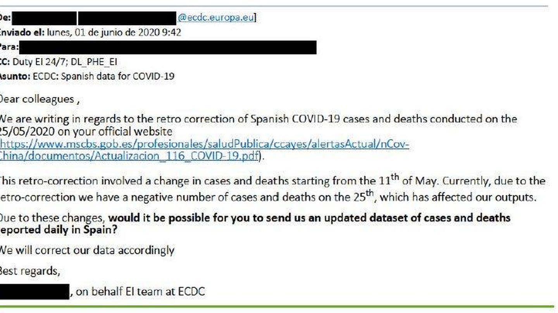 Correo enviado desde el ECDC al CCAES español en junio. (El Confidencial)