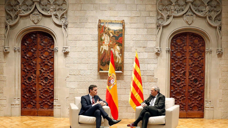 Pedro Sánchez y Quim Torra, durante su encuentro en Barcelona. (EFE)