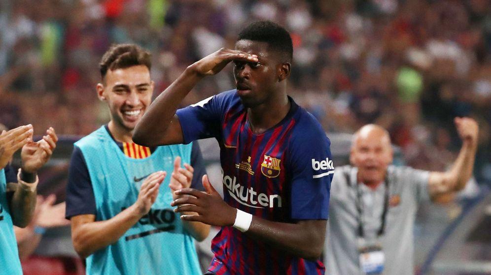 Foto: Así celebró Dembélé su gol en la Supercopa. (Reuters)