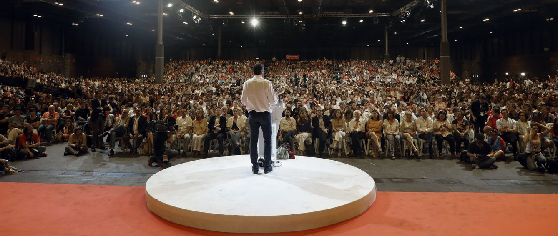 Foto: Pedro Sánchez, durante su discurso de clausura del 39º Congreso Federal, este 18 de junio en el pabellón 3 de Ifema de Madrid. (EFE)