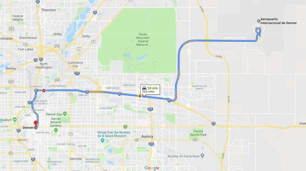 Foto: El trayecto habitual entre el centro de Denver y el aeropuerto, por la carretera Peña Boulevard (Foto: Google Maps)